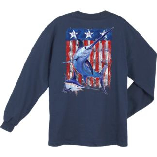 Guy Harvey Swordfish Flag Long Sleeve Shirt