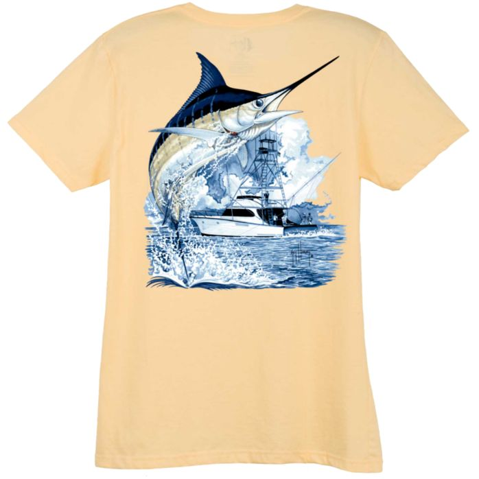 Guy Harvey Marlin Boat Ladies T-Shirt