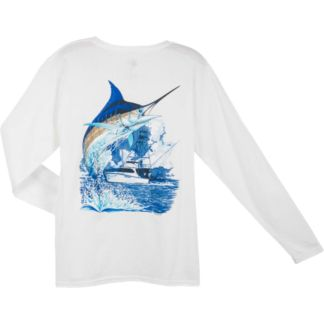 Guy Harvey Marlin Boat Ladies Long Sleeve Shirt