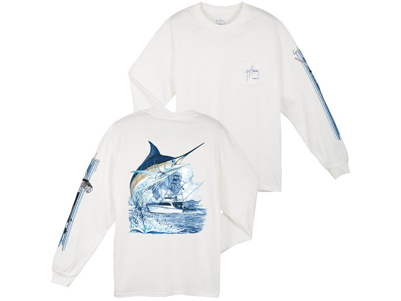 Guy Harvey Marlin Boat Long Sleeve Shirt