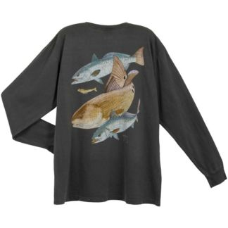 Guy Harvey Redfish Two Seatrout Vintage Long Sleeve Shirt