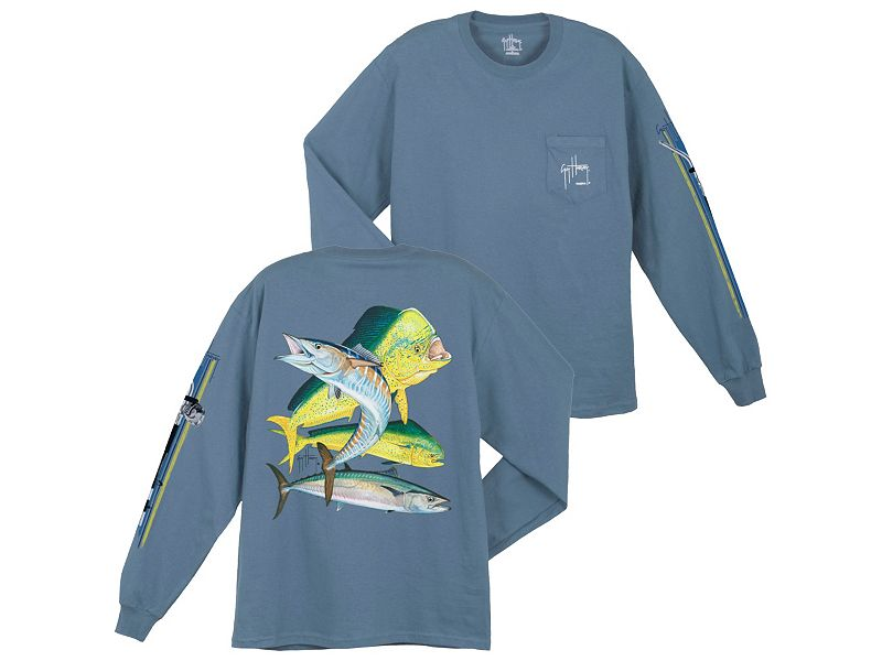 Guy Harvey Bull Dolphin, Wahoo, Kingfish Long Sleeve Shirt