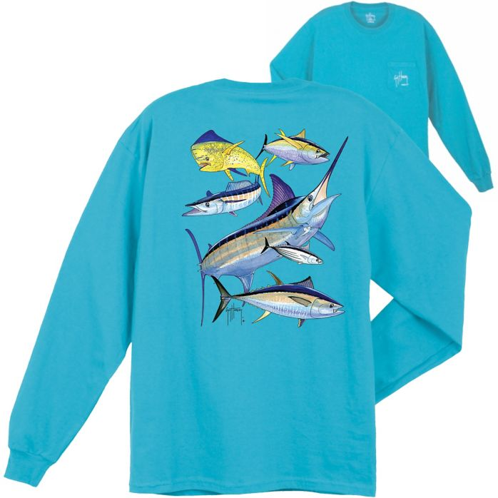 Guy Harvey Atlantic Big Game Collage Long Sleeve Shirt