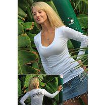 Reel Sassy Marlin Tattoo Long Sleeve V-Neck Shirt