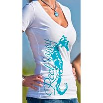 Reel Sassy Deep V-Neck Seahorse T-Shirt