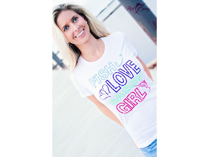 Reel Sassy Fish, Love, Sassy Girl Blended Crew T-Shirt