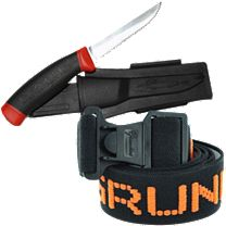 Grundens Elastic Logo Knife Belt & Gage Deck Knife Combo