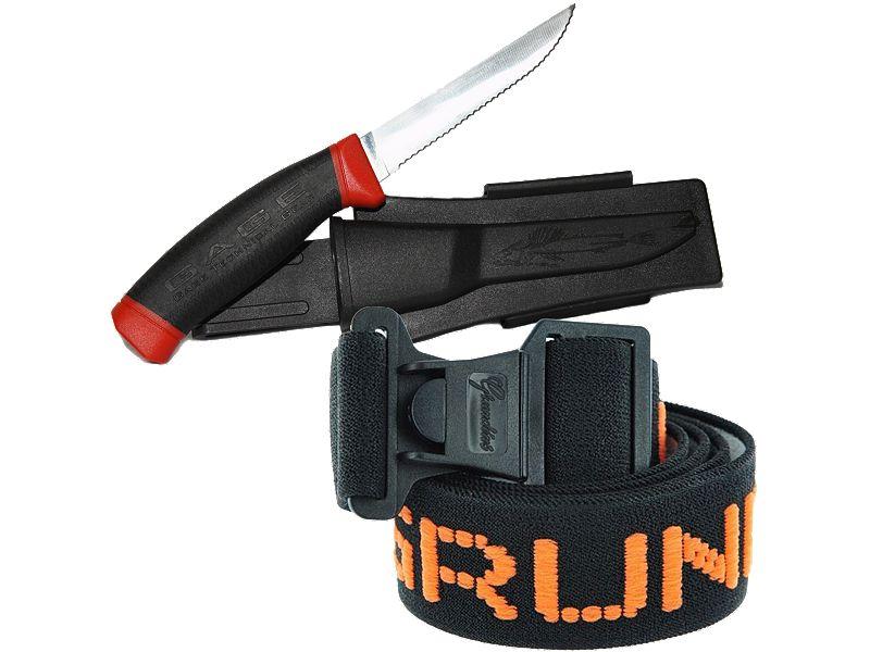 Grundens Elastic Logo Knife Belt & Gage Deck Knife Combo