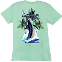 Guy Harvey Palm Tree Splash Ladies T-Shirt