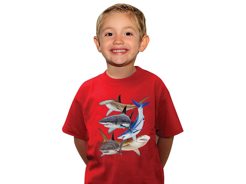 Guy Harvey Shark Collage Youth T-Shirt