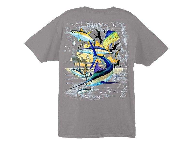 Guy Harvey Oil Rig Collage T-Shirt