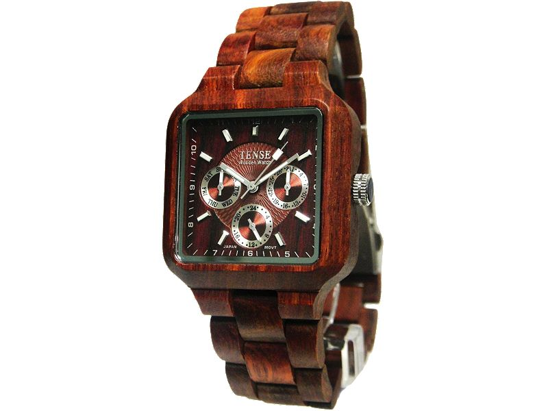 Tense Square Multi-Function Wood Watch