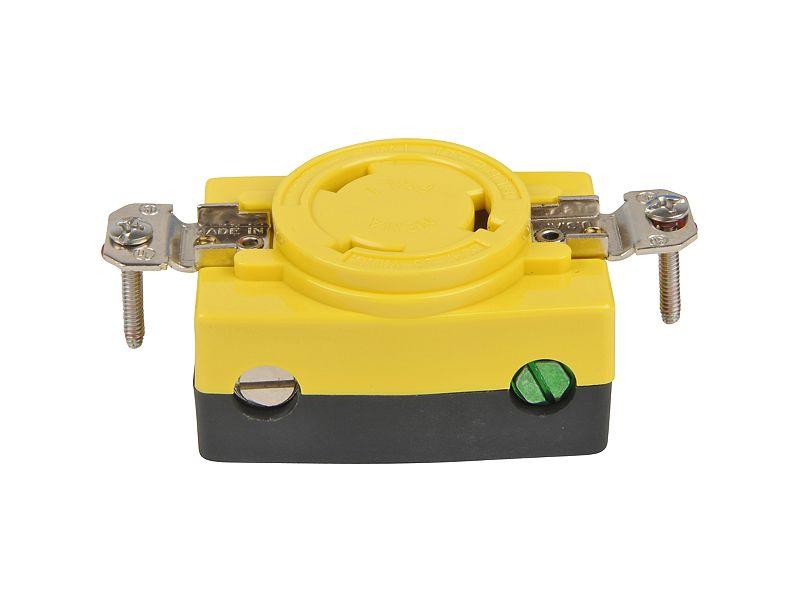 Hubbell Yellow Locking Single Plug Receptacle