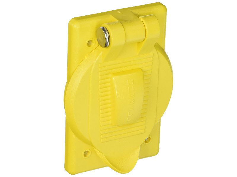 Hubbell Yellow Spring-Loaded Lift Cover Plate