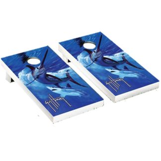 Guy Harvey Live by the Sword Cornhole Board