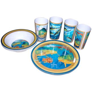 Guy Harvey Tuna/Dorado Melamine Tableware Set