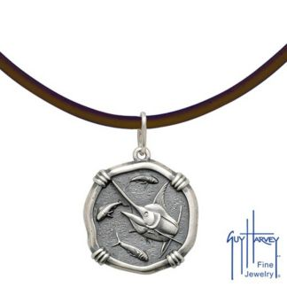 Guy Harvey Sterling Silver Marlin Head Medallion Necklace