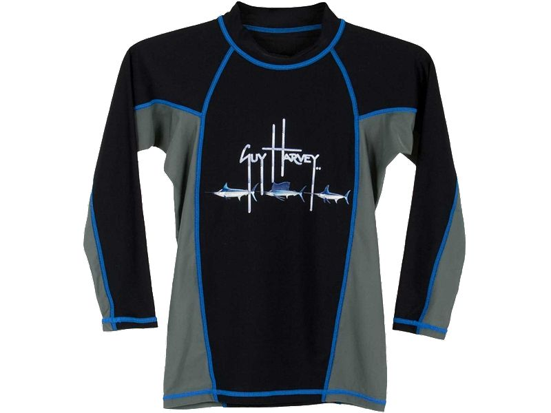 Guy Harvey Fish Trail Boys Long Sleeve Rash Guard