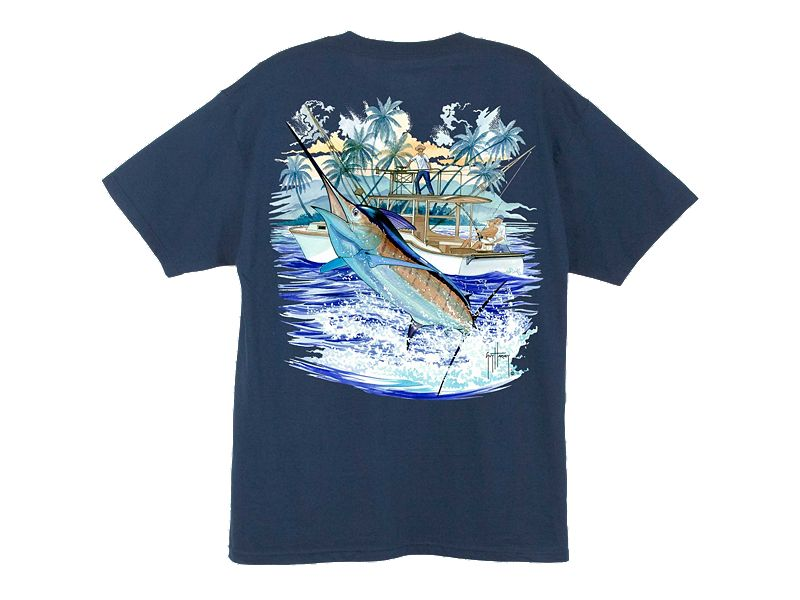 Guy Harvey Marlin Boat 2 T-Shirt