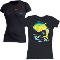 Guy Harvey Bull Dolphin Ladies Pocket Twist T-Shirt