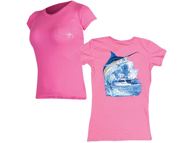 Guy Harvey Marlin Boat Ladies Pocket Twist T-Shirt