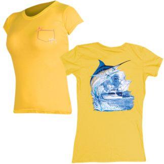 Guy Harvey Marlin Boat Ladies Pocket Twist T-Shirt