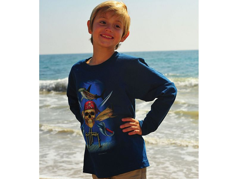 Guy Harvey Pirate Shark Long Sleeve Youth Shirt