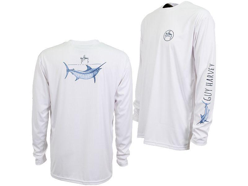 Guy Harvey Marlin Sketch Pro UVX Performance Long Sleeve Shirt