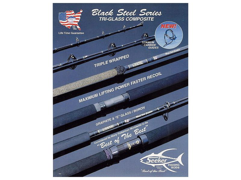 Seeker Black Steel Jig and Bait Rods