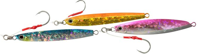 Shimano Shallow Water Butterfly Jigs - Centervortex (left), Slidend (center), Whirligig (right)