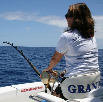 Jessica Kelmer fights an estimated 550 lb. Blue Marlin, the first of two caught 6/23/09.