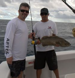 A nice grouper pulled up from the secret spot.