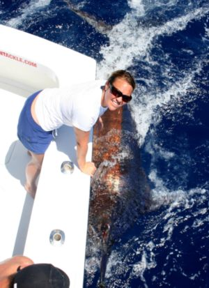 Jessica Kelmer with her 10th Blue Marlin of the season.