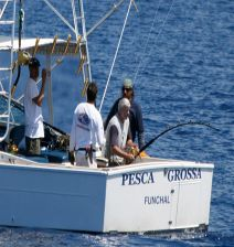An angler battles a feisty Bigeye Tuna aboard the Pesca Grossa, captained by Frothy De Silva