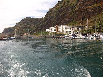 The Grander pulls out of the Calheta Marina in Madeira