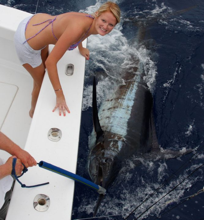 Lisa Jeyns with her first Atlantic Blue Marlin