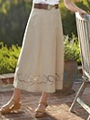 Linen-blend West Wind Embroidered Skirt