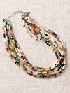 Mixed Stones Tube Necklace