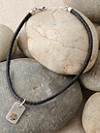 Silver Dog Tag Leather Necklace