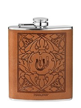 Debossed Leather-wrapped Flask
