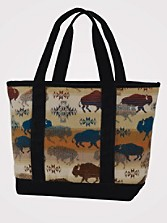 Land Of The Buffalo Large Canvas Tote