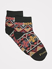 Geo Tapestry Quarter Crew Socks