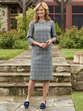 Stitched Worsted Plaid Brentwood Dress