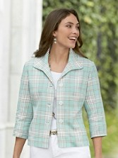 Three-quarter Sleeve Pomona Plaid Jacket