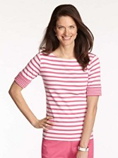 Roll Sleeve Stripe Rib Tee
