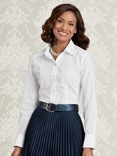 Scallop-sleeve Non-iron Fitted Shirt