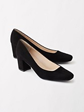 Suede Square Toe Pumps