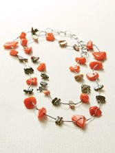 Coral And Abalone Shell Necklace