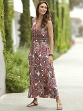 Venice Print Crossover V-neck Maxi Dress