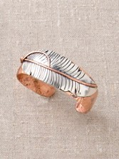 Silver And Copper Feather Cuff